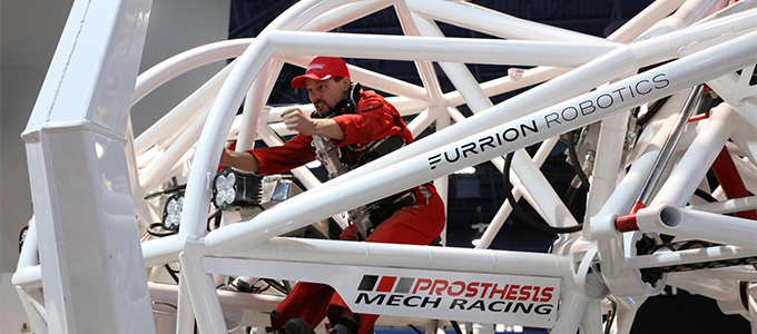 Racing Pacific Rim mechs? Sorta. Check out the Furion Racing mech, linked by http://scottsigler.com/godaddy